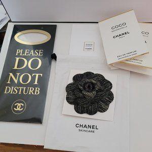 New Chanel black N gold Camellia + door hanger